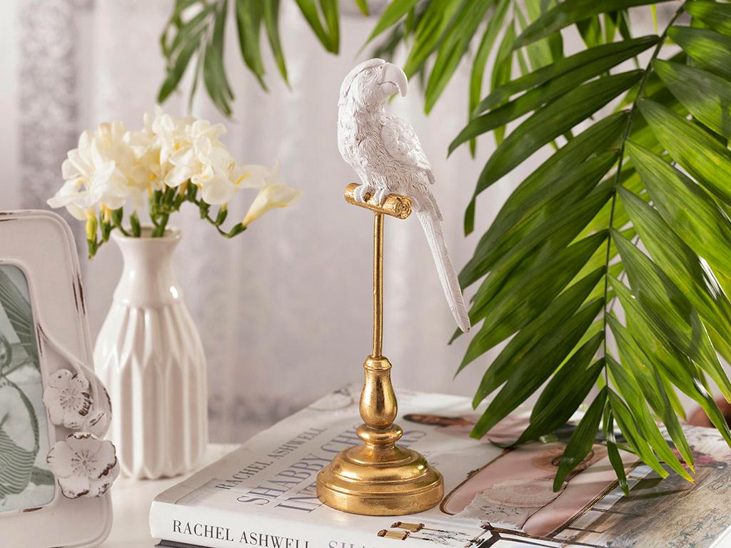 Parrot Paradise Polyresin Dekoratif Obje 10,5x10,5x24,6 Cm Beyaz