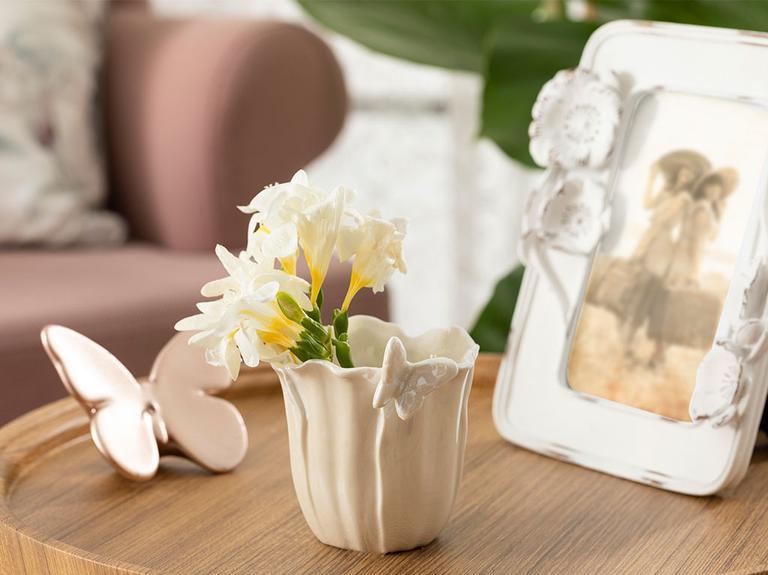 Orchids Butterfly Stoneware Saksı 9,8X8X6 Cm Beyaz