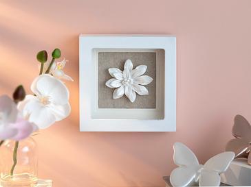 Bellflower Stoneware+wooden Tablo 15,5x15,5x3,5 Cm Beyaz