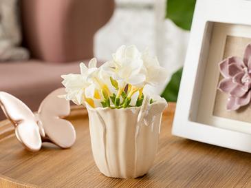 Orchids Butterfly Stoneware Saksı 10,3x9x9,5 Cm Beyaz