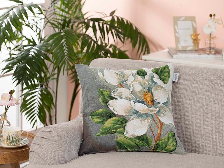Arty Magnolia Goblen Kırlent Kılıfı 45X45 Cm Gri