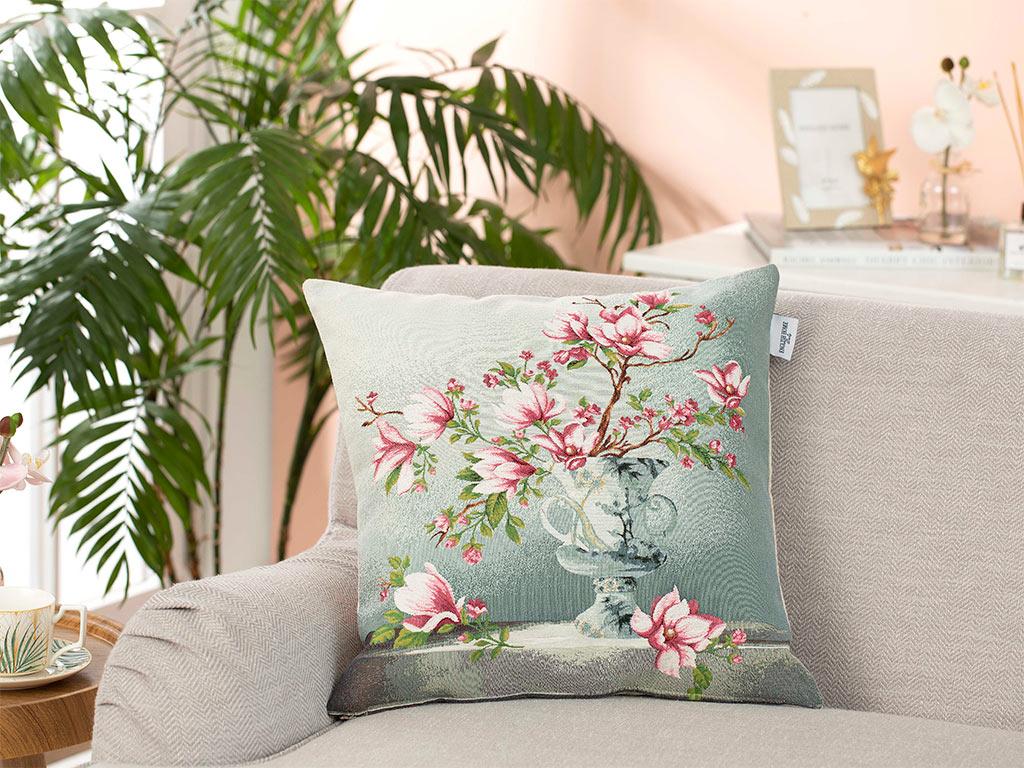 Magnolia Spring Goblen Kırlent Kılıfı 45x45 Cm Gri
