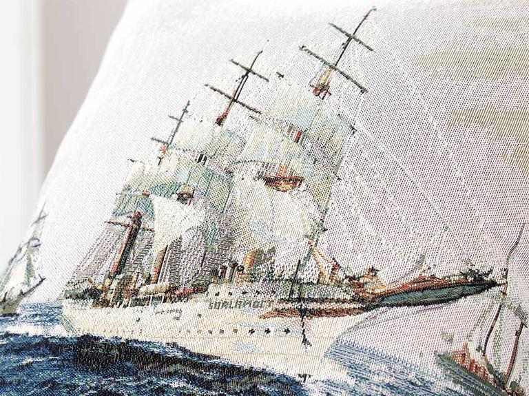 Sailboats Goblen Kırlent Kılıfı 45X45 Cm Mavi