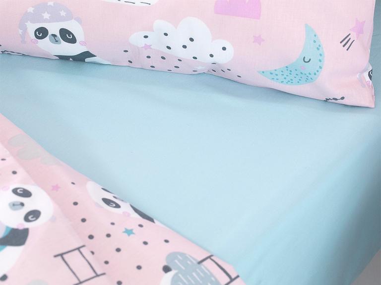 Little Panda Pamuklu Bebe Nevresim Takımı 100X150 Cm Pembe