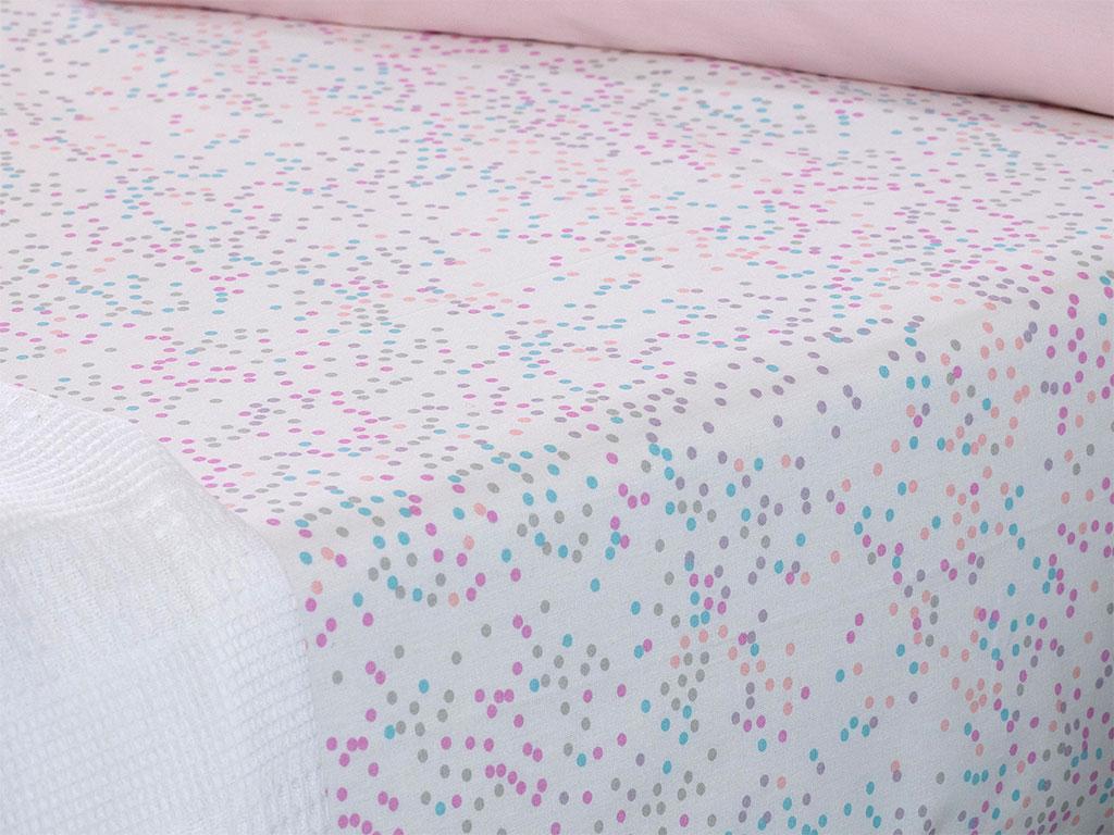 Mini Dots Pamuklu Bebe Lastikli Çarşaf 70x140 Cm Pembe