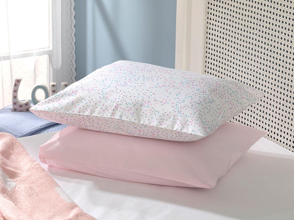 Mını Dots Pamuklu Bebe Yastık Kılıfı 35X45 Cm Pembe