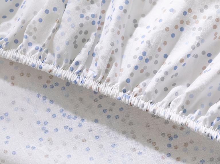 Mını Dots Pamuklu Bebek Lastikli Çarşaf 70X140 Cm Mavi