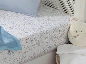 Mını Dots Pamuklu Bebe Lastikli Çarşaf 70X140 Cm Mavi