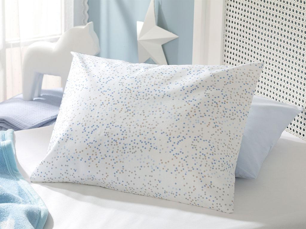 Mini Dots Pamuklu Bebe Yastık Kılıfı 35x45 Cm Mavi