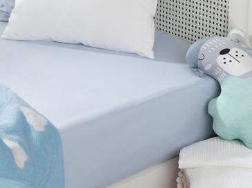 Soft Pamuklu Bebe Lastikli Çarşaf 70x140 Cm Mavi