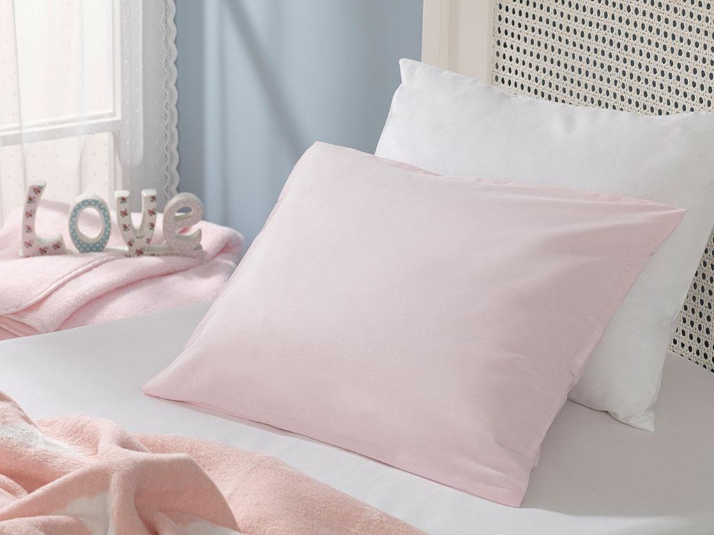 Soft Pamuklu Bebe Yastık Kılıfı 35x45 Cm Pembe