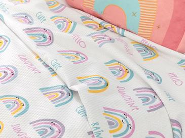 Happy Rainbow Baskılı Bebe Pike 100x150 Cm Beyaz