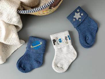 Planet Baskılı 3'lü Bebe Çorap 6-12 Ay Lacivert