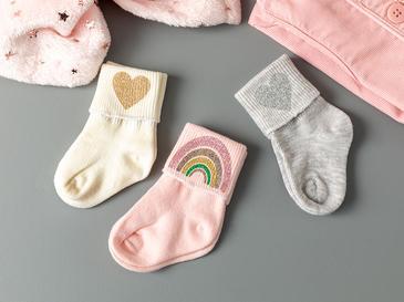 Happy Rainbow Baskılı 3'lü Bebe Çorap 6-12 Ay Pembe
