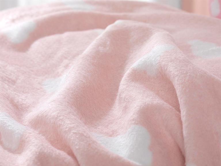 Mini Clouds Pamuklu Bebek Battaniye 100X120 Cm Şeker Pembe