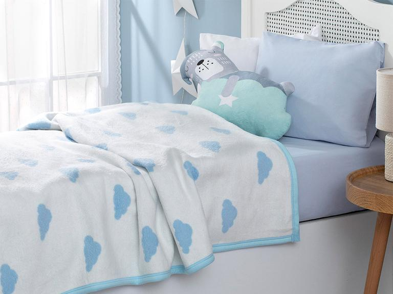 Mini Clouds Pamuklu Bebek Battaniye 100X120 Cm Mavi