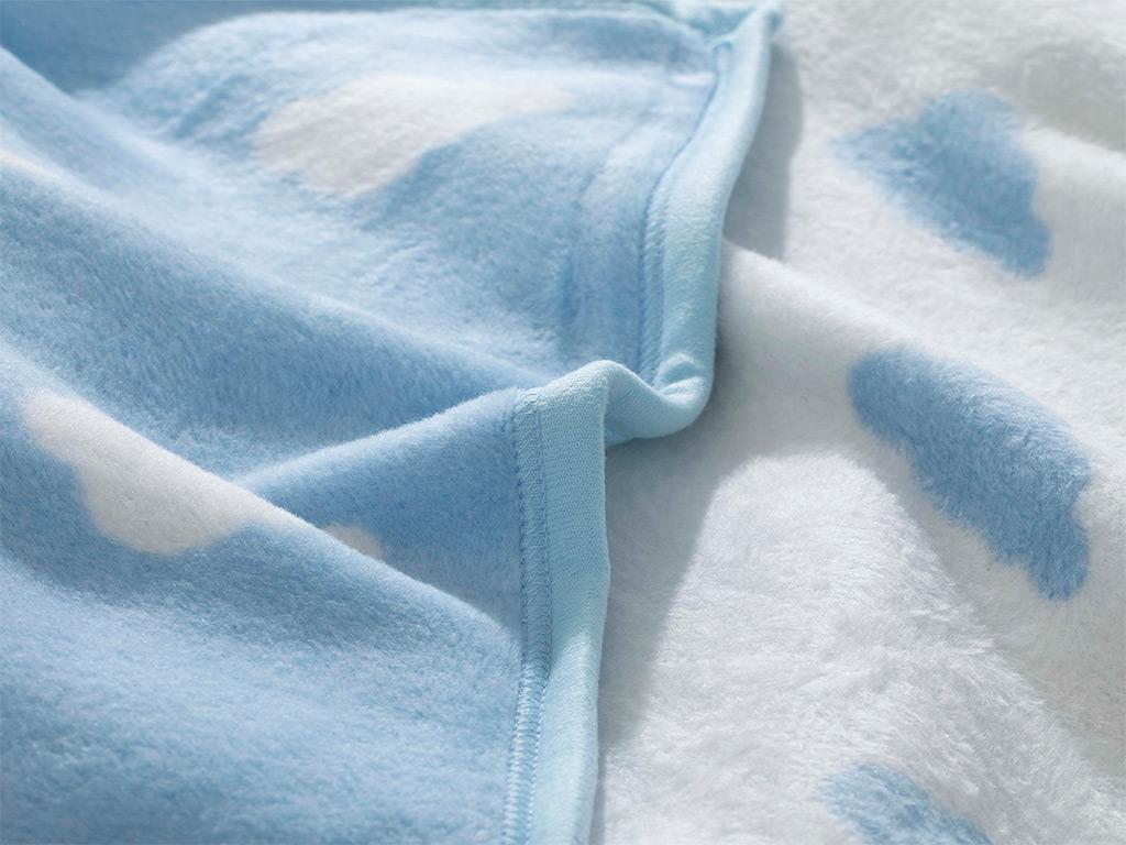 Mini Clouds Pamuklu Bebe Battaniye 100x120 Cm Mavi