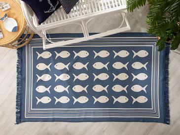 Fish Dokuma Çift Taraflı Kilim 120x180 Cm Mavi