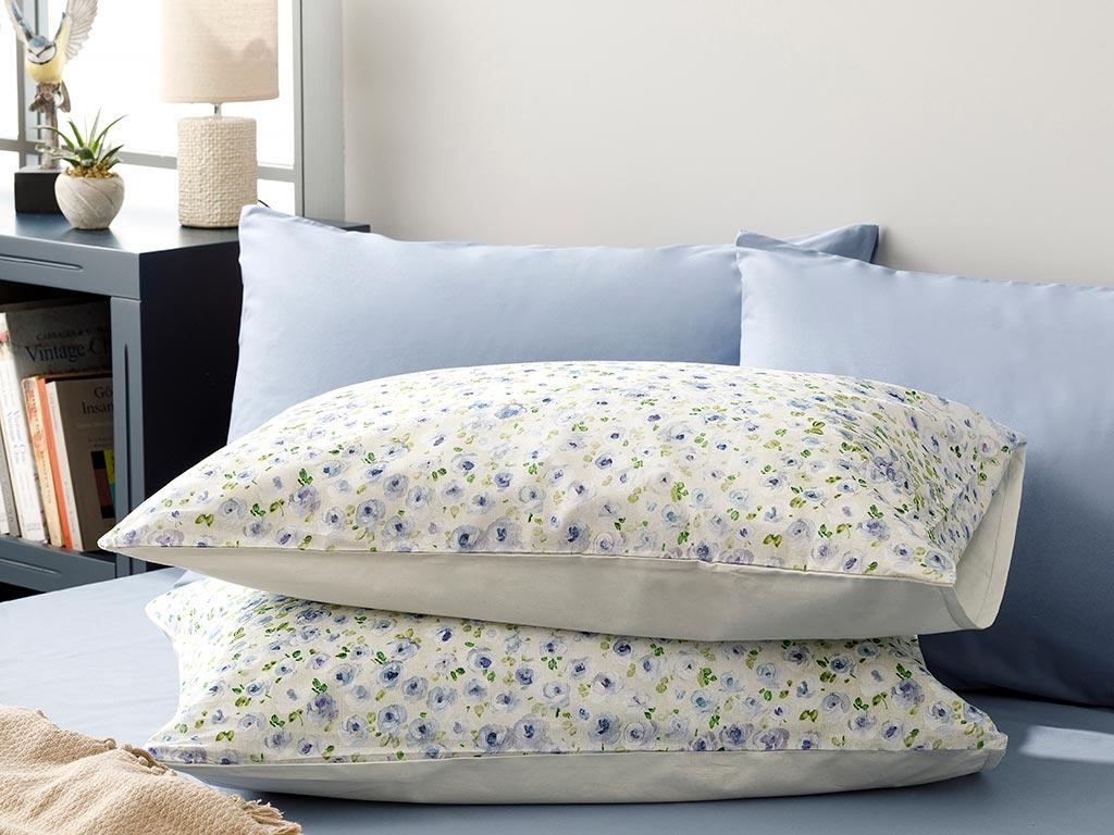 Rose Blaze Pamuklu 2'li Yastık Kılıfı 50x70 Cm Mavi