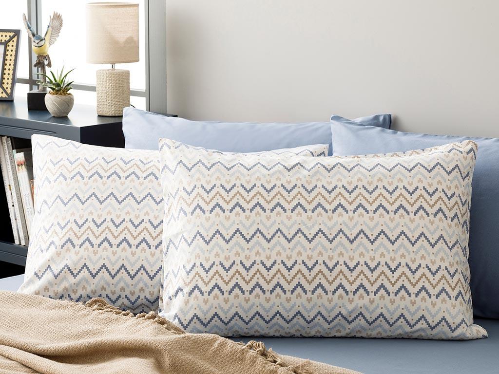 Ikat Pamuklu 2'li Yastık Kılıfı 50x70 Cm Mavi