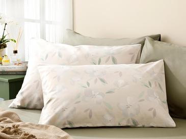 Aquarel Magnolia Pamuklu 2'li Yastık Kılıfı 50x70 Cm Bej