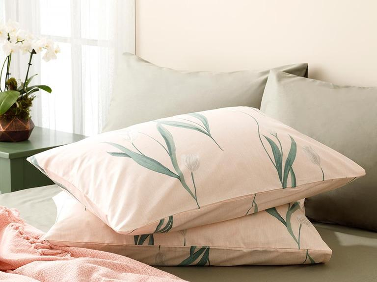 Tulip Garden Pamuklu 2'li Yastık Kılıfı 50x70 Cm Pembe