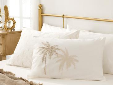 Glitter Palm Pamuklu 2'li Yastık Kılıfı 50x70 Cm Bej