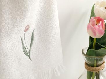 Tulip Garden Nakışlı El Havlusu 30X40 Cm Ekru