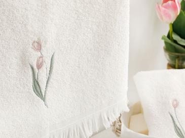 Tulip Garden Nakışlı Yüz Havlusu 50X76 Cm Ekru