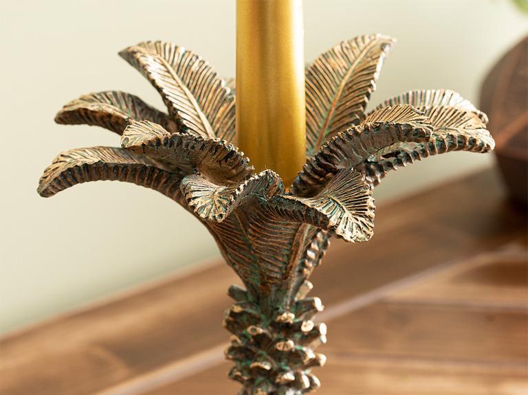 Palm Trees Polyresin Şamdan 15x15x25 Cm Kahve - Yesil