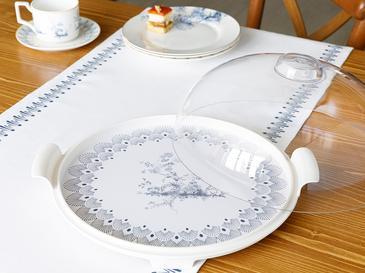Tual Kapaklı Kek Fanus 31 Cm Beyaz - Mavi