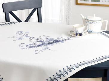 Tual Polyester Kare Masa Örtüsü 100X100 Cm Beyaz - Mavi