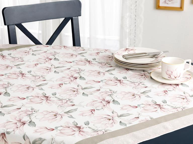 Magnolia Polyester Kare Masa Örtüsü 100X100 Cm Pembe - Yeşil
