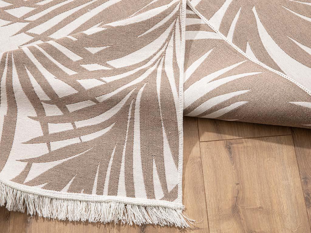 Palm Pamuklu Kilim 80x150 Cm Bej - Beyaz