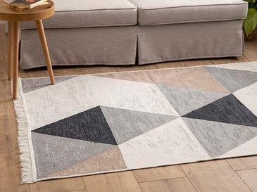 Triangle Pamuklu Kilim 120x180 Cm Beyaz - Ten - Siyah