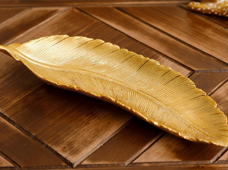 Leafy Polyresin Dekoratif Tabak 25,3X8,8X4,4 Cm Altın