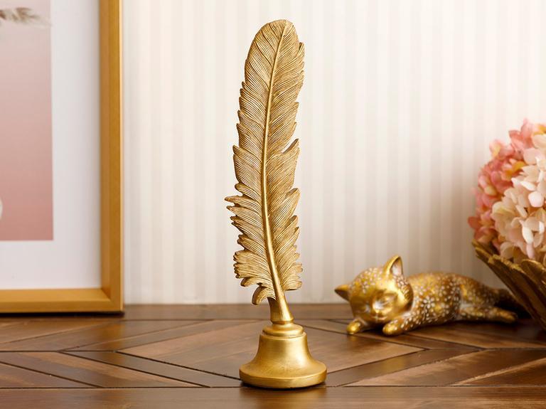 Feathers Polyresin Biblo 7,5X7X27,5 Cm Altın