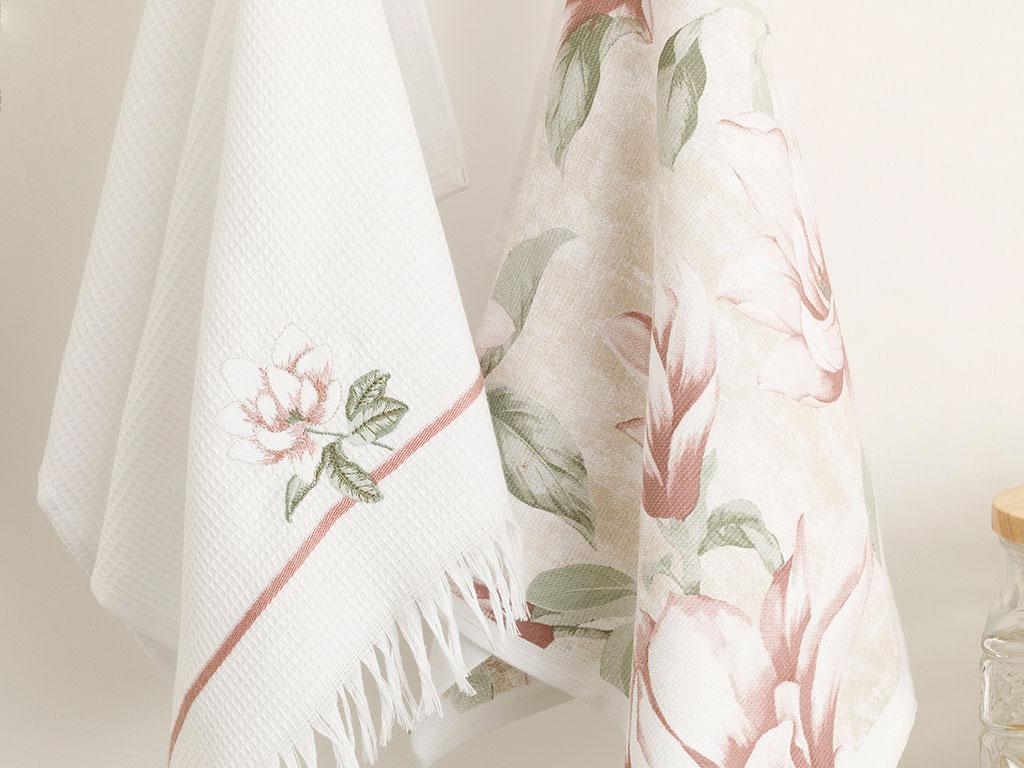 Magnolia Pamuk 2'li Kurulama Bezi 40x60 Pembe - Beyaz