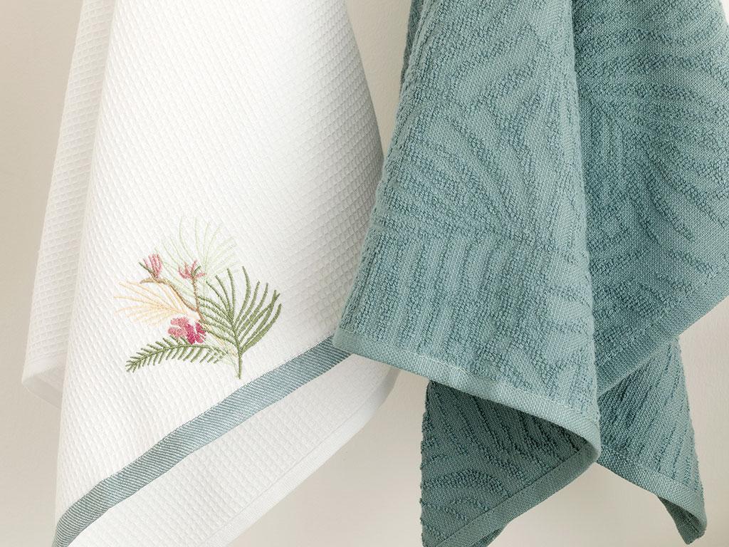 Palm Pamuk 2'li Kurulama Bezi 40x60 Beyaz - Yeşil