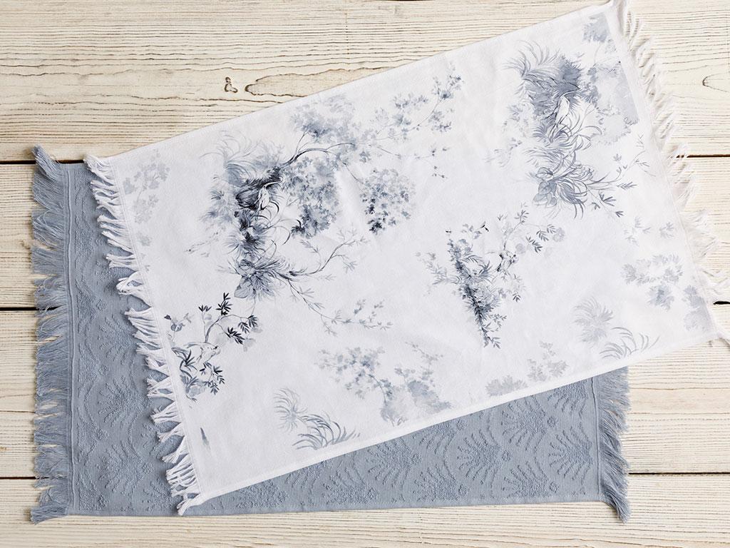 Tual Pamuk 2'li Kurulama Bezi 40x60 Beyaz - Mavi