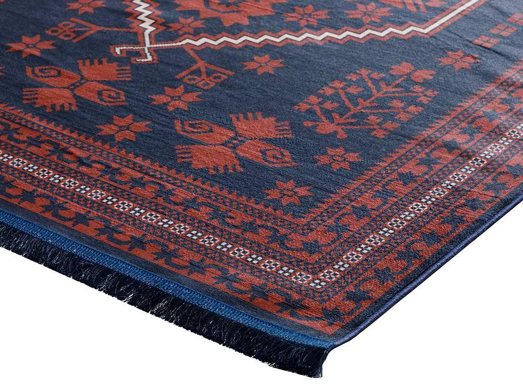 Siena Kadife Halı 120x180 Cm Kırmızı - Lacivert