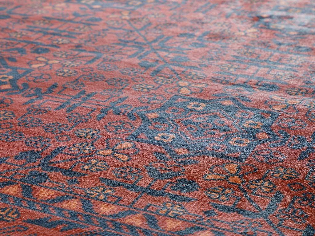 Eliza Kadife Halı 80x150 Cm Kırmızı - Lacivert