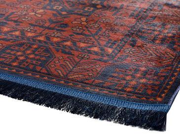 Eliza Kadife Halı 80X300 Cm Kırmızı - Lacivert