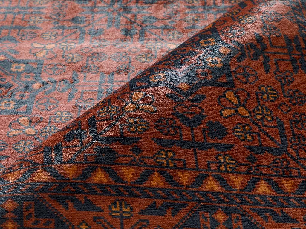 Eliza Kadife Halı 120x180 Cm Kırmızı - Lacivert