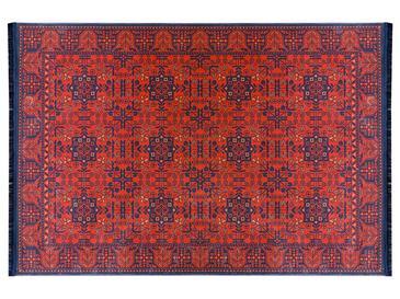 Eliza Kadife Halı 300x200 Cm Kırmızı - Lacivert
