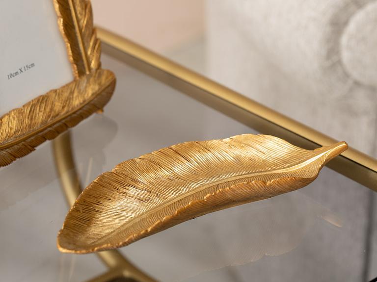 Leafy Polyresin Dekoratif Tabak 20X7,8X2,8 Cm Altın