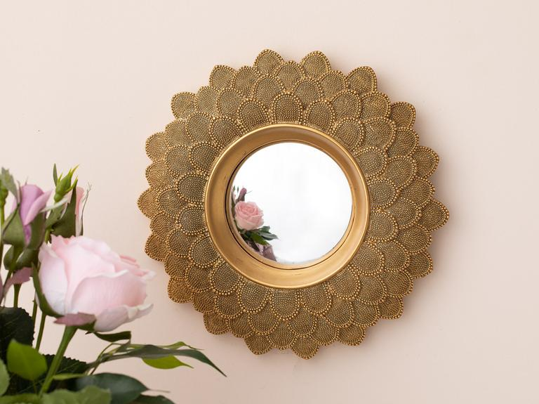 Golden Polyresin Ayna 20,5X21X2,3 Cm Altın