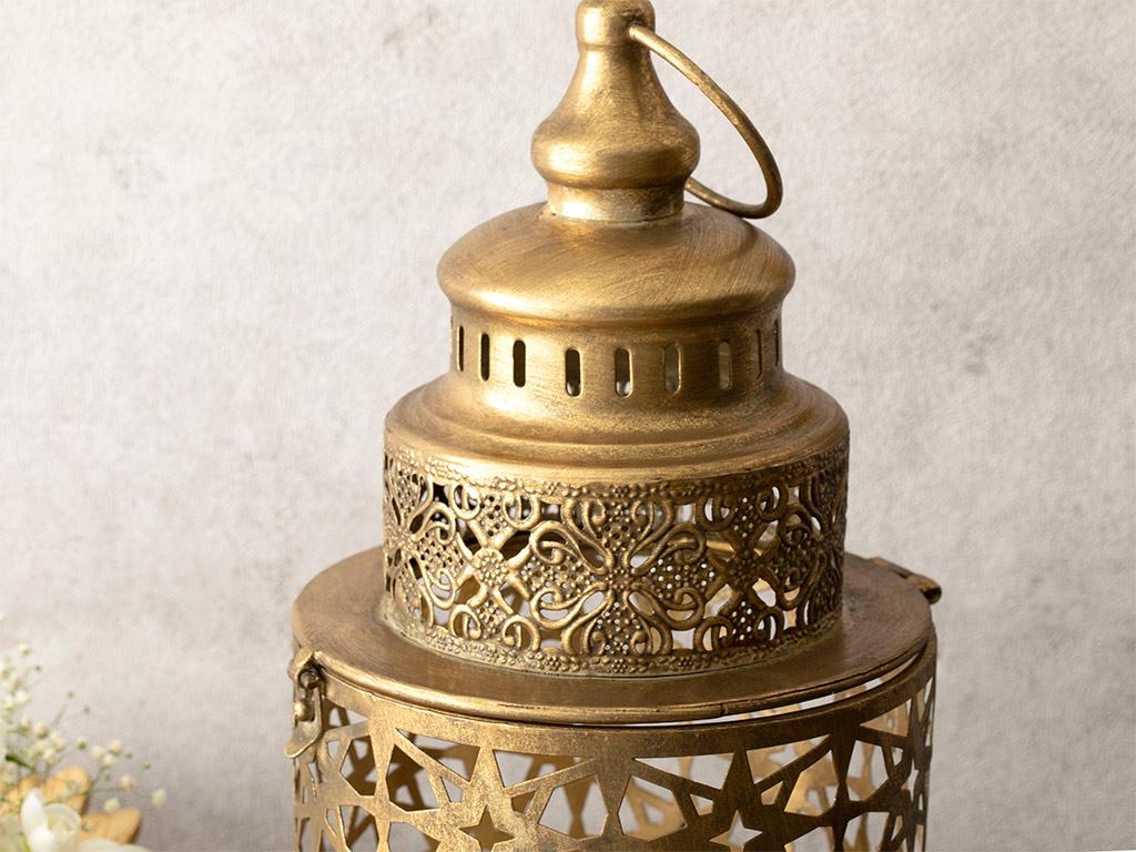 Antique Shop Metal Fener 16,5x16,5x35 Gold