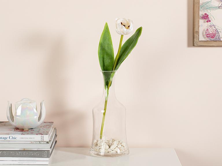 Ragged Orchid Kumaş Tek Dal Yapay Çiçek 39 Cm Beyaz