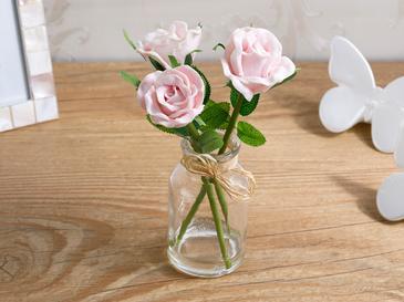 Twin Rose Soft Plastic Vazolu Yapay Çiçek 5,5X5,5X18 Cm Pembe
